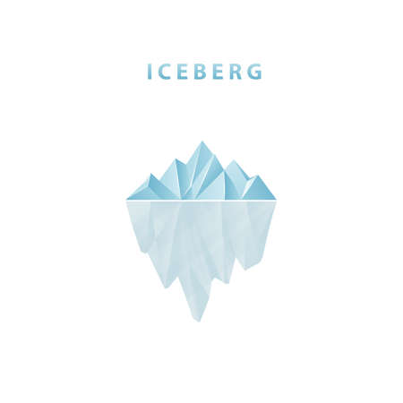 Polygonal iceberg in flat style. Iceberg icon.