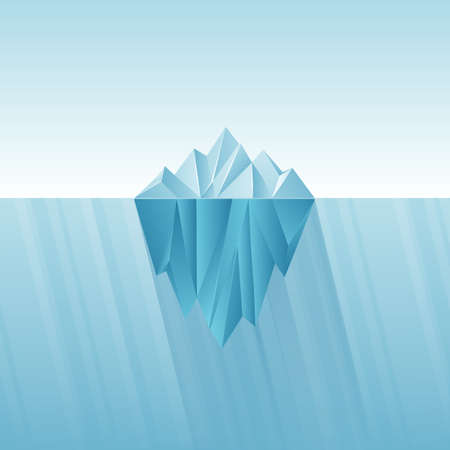 Iceberg infographic template. Polygon iceberg in flat style. Illustration