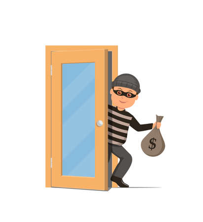 office theft: Thief in a mask holding a money bag and sneaks through the door. Cartoon burglar in flat style. Illustration