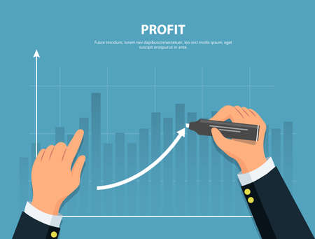 Profit. Businessman draws graph of financial growth . Concept financial investments and revenue increase. Vector illustration in flat style.