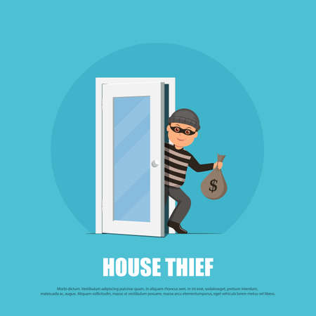 office theft: Thief in a mask holding a money bag and sneaks through the door. Cartoon burglar in flat style. Vector illustration.