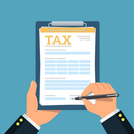 Close-up of person hands with tax clipboard and pen. Business concept of filling tax form. Vector Illustration