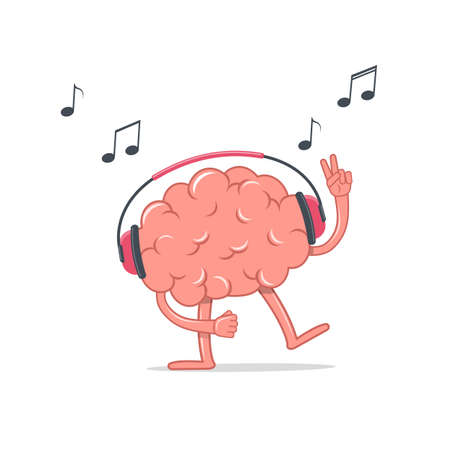 The brain in the headphones dances and sings. The concept of relax and healthy lifestyle.