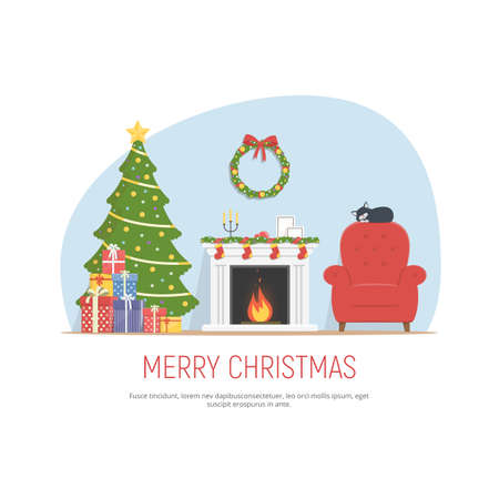happy family: Christmas decorated living room. Cozy room with fireplace, red armchair, christmas tree and pile gifts. Christmas background in flat style. Vector illustration.