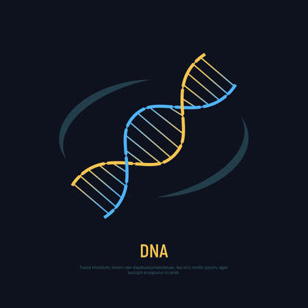 DNA helix icon. Concept symbol of biochemistry and nanotechnology.