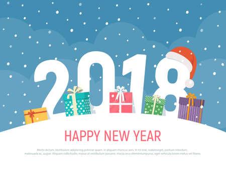 Año nuevo 2018. Fondo de vacaciones de invierno con cajas de regalos. Ilustración de vector de Navidad en estilo plano. Ilustración de vector
