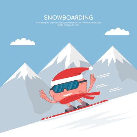 Cartoon brain in snowboarding on the background of mountains. Winter sport. Snowboarding. Christmas vacation. Vector illustration in flat style.