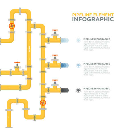 Pipelines infographics template. Pipes and valves. Vectores