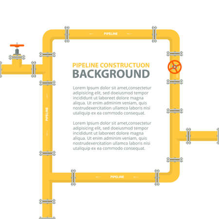 Industrial background with yellow pipeline. Pipes in shape frame for text. Oil, water or gas pipeline with fittings and valves. Vector illustration. Ilustração