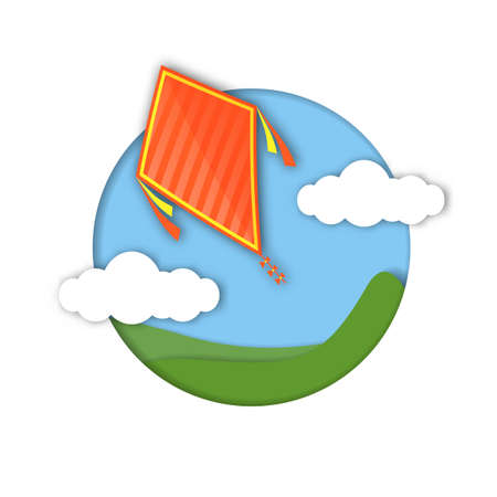 Paper art carving of a kite in the sky. World Kite Day. Happy Makar Sankranti. Illustration
