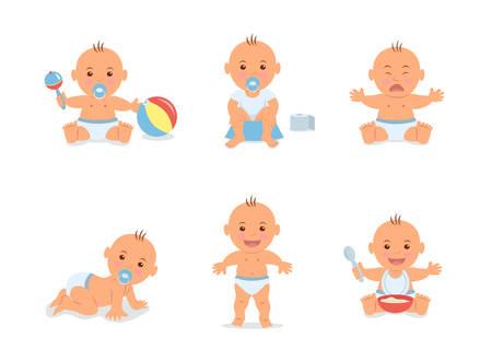 Karikatur stellte mit netten kleinen Babys in der Windel ein. Glückliches Kleinkind spielt mit Spielzeug, das Kind, das lernt zu gehen, das schreiende Baby, das Kind sitzt auf Töpfchen, das Kleinkind, das auf den Boden kriecht.