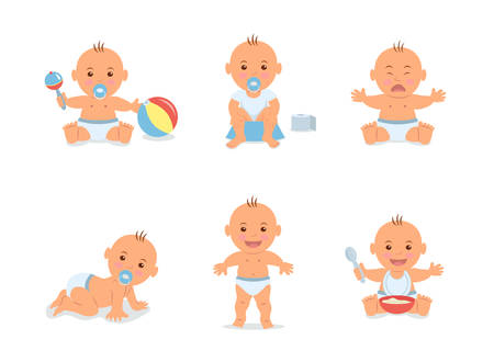 Cartoon set with cute little babies in diaper. Happy toddler plays with toy, child learning to walk, baby crying, child sits on potty, toddler crawling on the floor.
