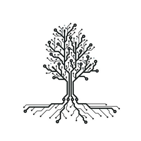 Concept circuit board tree. Futuristic background with tech tree. PCB. Black and white texture. Vector illustration.