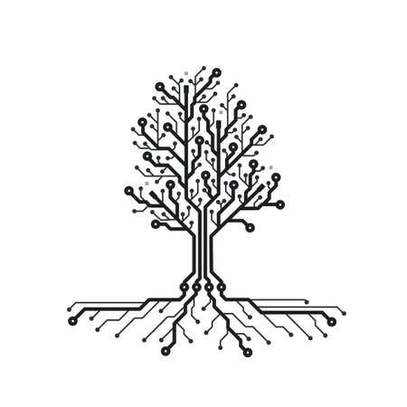 개념 회로 보드 나무. 기술 나무와 미래 배경입니다. PCB. 검은 색과 흰색 질감. 벡터 일러스트입니다. 스톡 콘텐츠 - 96664137