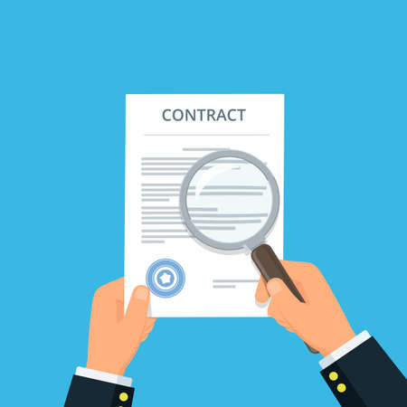 Contract inspection for fraud prevention. Close-up businessman hands holding contract and magnifying glass. Reading and analyzing document. Vector illustration in flat style. Reklamní fotografie - 99743277