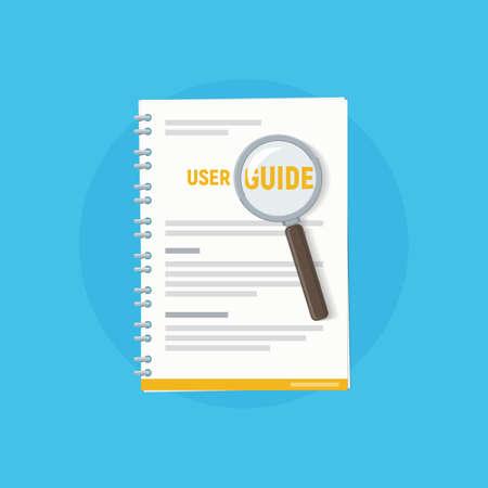 Guía de usuario de iconos con lupa. Manual de usuario. Ilustración de vector de manual de instrucciones en estilo plano.