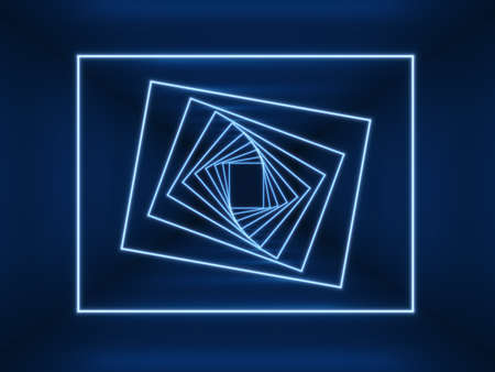 Neon glowing blue lights. Twisted neon squares in long dark empty tunnel. Digital futuristic background.