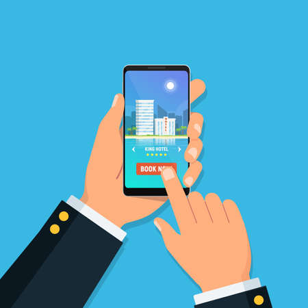 Online hotel booking. Person holding smartphone with booking hotel room in app on screen. Concept online travel service. Vector illustration in flat style. Illustration