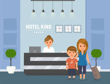 Hotel reception. Manager behind registration desk, mother and child with suitcases. Receptionist and guests. Hotel booking service concept. Vector illustration in flat style. Illustration