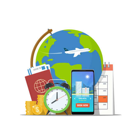 Travel concept. Online booking travel. Passport, phone with booking app, calendar, money and alarm clock on background globe. Summer vacation and trip world. Vector illustration in flat style.