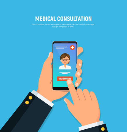 Close-up of person hands holds phone with online doctor consultation on screen. Medical and healthcare concept. Vector illustration in flat style.