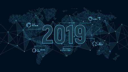 Modern futuristic template for 2019 on background with polygons connection structure and world map in pixels. Digital data visualization. Business technology concept.