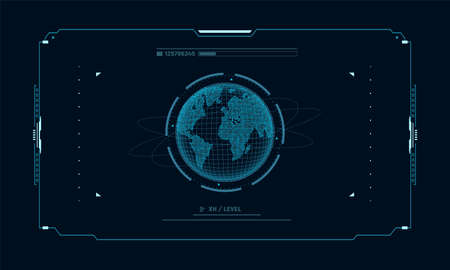 Hologram planet Earth in window virtual touchscreen user interface. Futuristic planet on control panel target screen. Concept sci fi interface for vr and video games.Vector illustration. Illustration