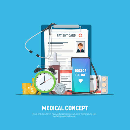 Online doctor, healthcare, medical concept. Clipboard with patient card, pills, medical stethoscope, alarm clock, coins and phone with medical service app on screen. Vector illustration in flat style.