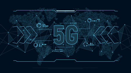 Modern futuristic background for technology 5G with polygons connection structure and world map in pixels. Digital data visualization. Business technology concept. Vector illustration. Vektoros illusztráció