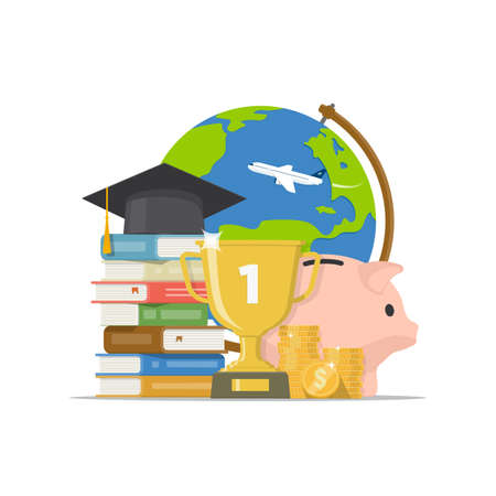 Stack of books, graduation cap, globe, piggy bank, gold cup and pile coins isolated white background. Back to school, graduation, scholarship concept. Invest in education. Vector illustration. Stock Photo
