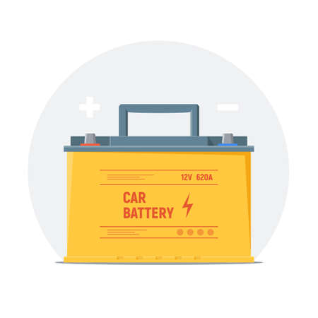 Car battery icon. Isolated yellow battery with plus and minus symbols. Element of infographics check, charge and use car battery. Vector illustration. Foto de archivo - 106961624