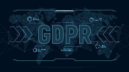 General Data Protection Regulation. Modern futuristic background for GDPR with polygons connection structure and world map in pixels. Digital data visualization. Vector illustration. Illustration