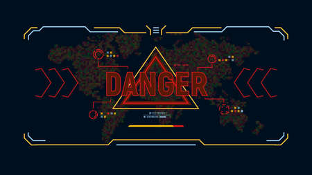 Modern futuristic background with warning message danger. Target HUD display. Sci-fi user interface design on background world map in pixels . Security concept. Vector illustration.