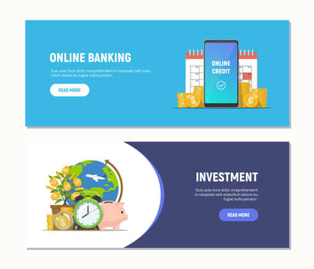 Flat design web banners for online banking, investment. Modern business concepts templates. Vector illustration. 向量圖像
