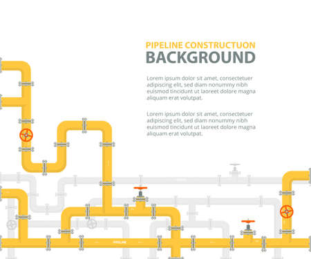 Industrial background with yellow pipeline. Oil, water or gas pipeline with fittings and valves. Vector illustration in a flat style. Illustration