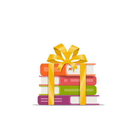 Gift of stacked books with golden ribbon and bow. Icon, symbol, emblem for bookstore, library and online shop. Holiday present. Vector illustration in flat style. Illustration