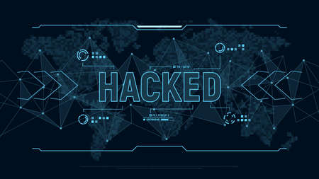 Modern futuristic background Hacked . Polygons connection structure and world map in pixels in user interface display. Danger for Personal data. Digital cyber security concept. Vector illustration.