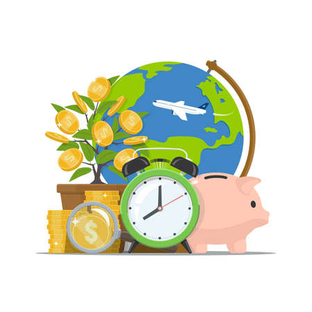 Saving money. Time investing. Economic growth business concept. Alarm clock, piggy bank, stack coins with magnifying glass, globus and money tree on white background. Vector illustration in flat style