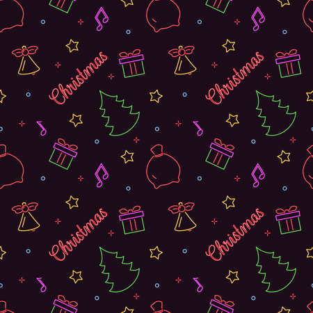 Christmas neon seamless pattern. Symbol christmas on dark background for decoration and covering greeting card or texture packaging. Vector illustration. Illustration