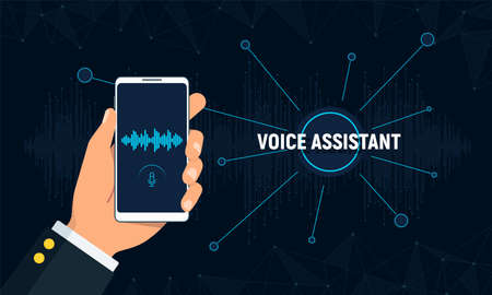 Personal assistant and voice recognition concept. Hand holds phone with voice intelligent technology. Futuristic background with soundwave and polygons connection structure. Vector illustration.