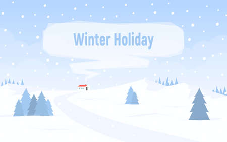 Winter snowy landscape with hills. House with red roof and smoke from the chimney for text. Winter holiday. Vector illustration in flat style.