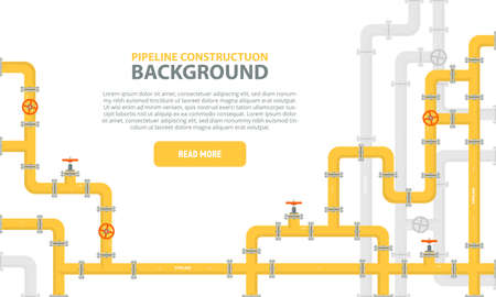 Industrial background with yellow pipeline. Oil, water or gas pipeline with fittings and valves. Web banner template. Vector illustration in a flat style. Illustration