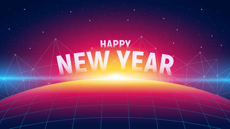 Modern futuristic new year background with sunrise, polygons connection structure and grid planet. Trendy neon style. Ilustração