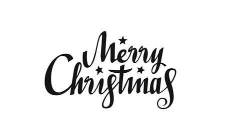Merry Christmas text of typographic design. Christmas calligraphy. Hand drawn lettering. Creative typography for holiday greeting. Vector illustration. Ilustração