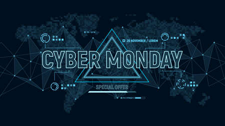 Modern futuristic banner for Cyber Monday on background with polygons connection structure and world map in pixels. Discount sale, online shopping and marketing concept. Vector illustration