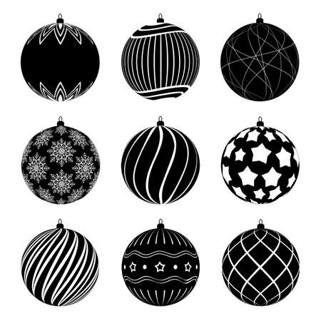 Set of silhouettes christmas balls with different textures. Christmas bauble decorated with black and white patterns. Ilustração