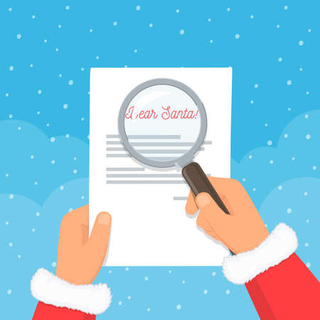 Close-up Santa Claus hands holding wishlist and magnifying glass. Reading children letters with desires. Christmas concept. Vector illustration in flat style.