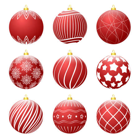 Set of red christmas balls with different textures. Christmas bauble decorated with white patterns. Vector illustration
