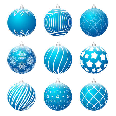Set of red christmas balls blue different textures. Christmas bauble decorated with white patterns. Vector illustration.