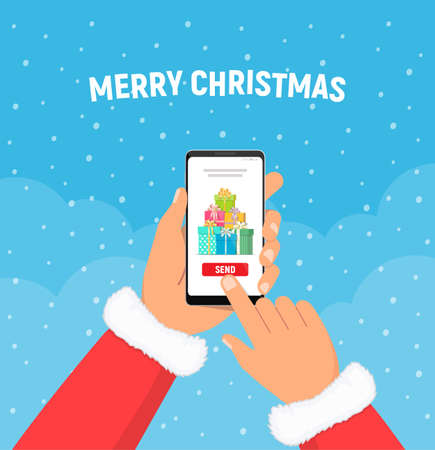 Santa claus hands holds phone with gifts boxes on screen. Christmas presents. Concept of sending christmas gifts. Ilustração